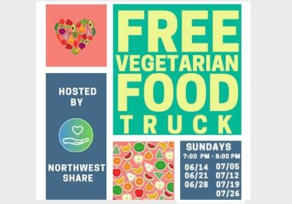 Free Vegetarian Food Truck / El camión de comida vegetariana gratuito